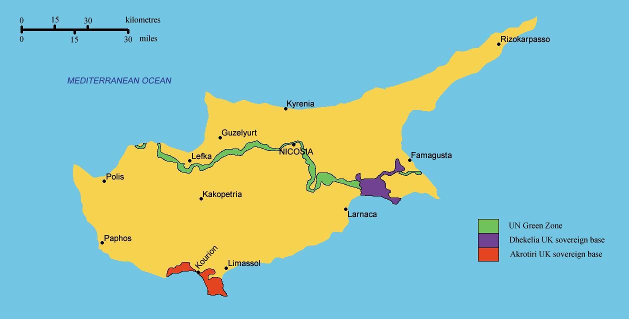Etela Kyproksen Kartta Kartta Etela Kypros Etela Euroopassa