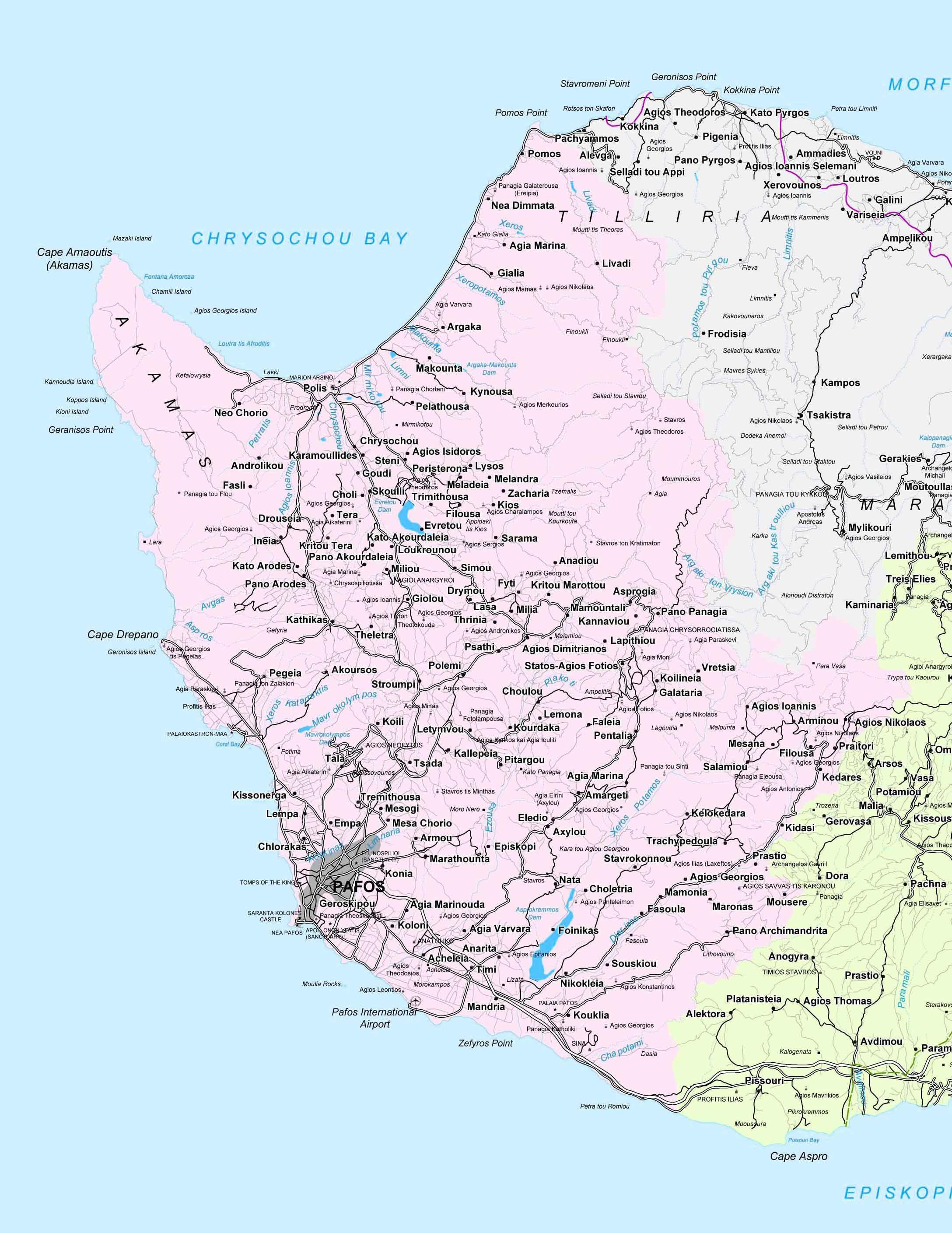 Kartta Pafoksen Alue Kypros Street Kartta Paphos Kypros Etela