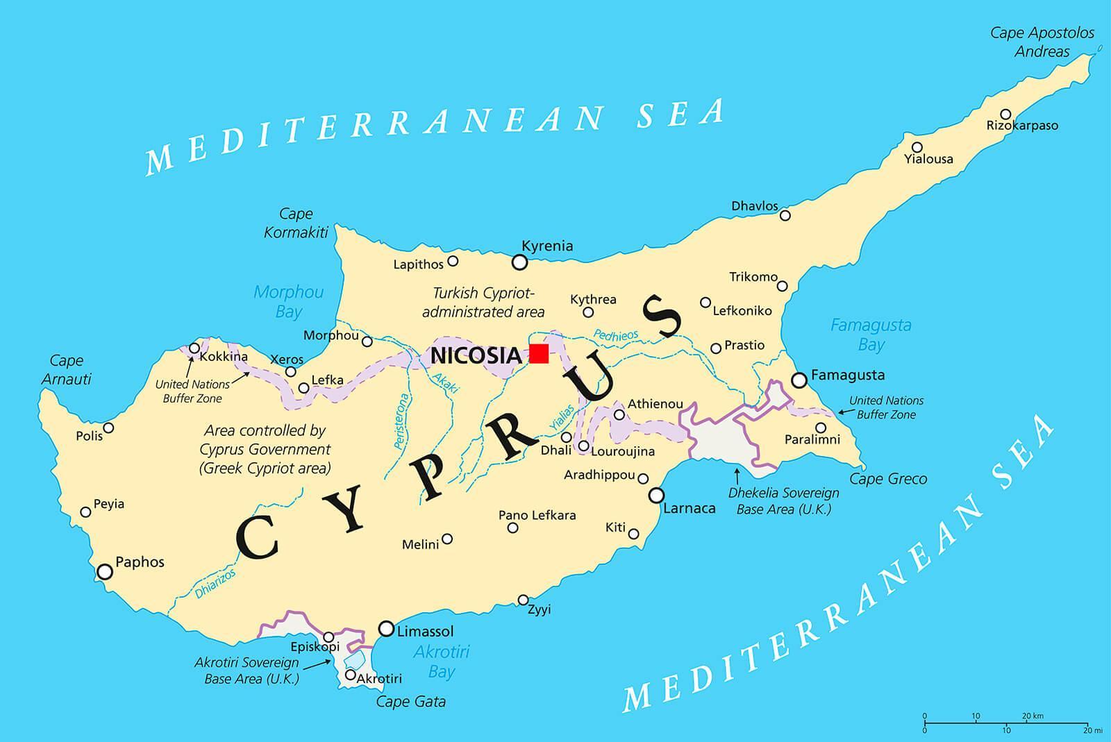 Kyproksen Sijainti Kartalla Kartta Nayttaa Kypros Etela