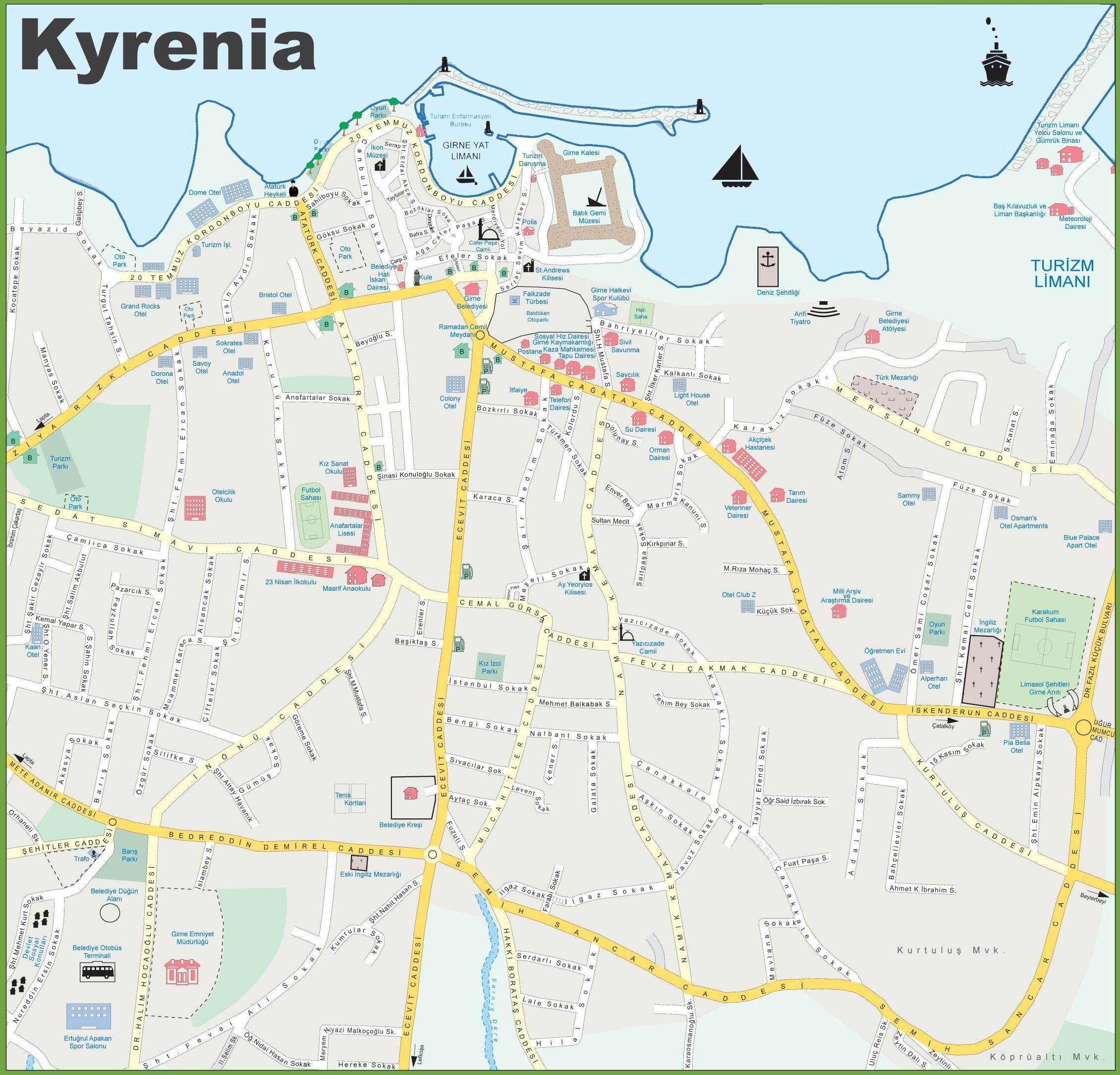 Kyrenia Kyproksen Kartta Kartta Pohjois Kypros Kyrenia Etela