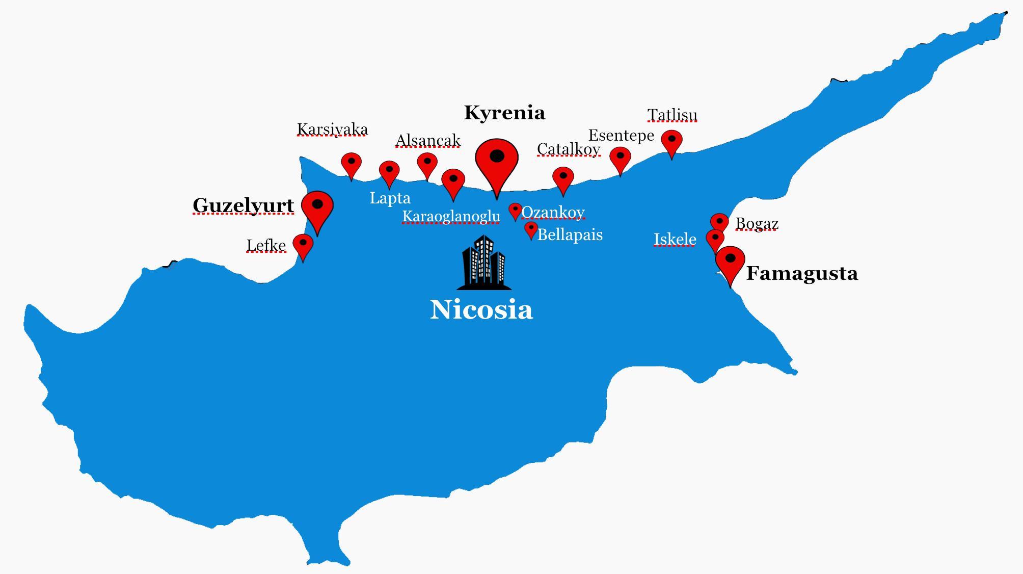 Pohjois Kyproksen Kartta Pohjois Kypros Tie Kartta Etela