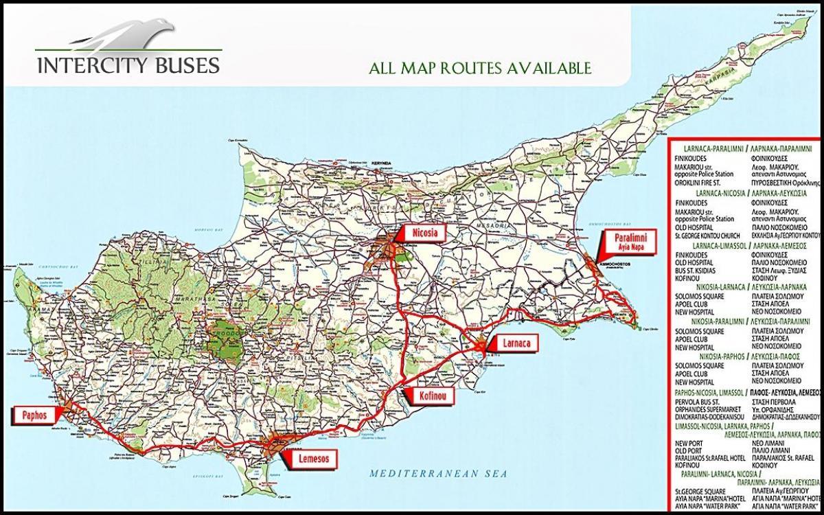 Kyproksen Bussi Kartta Kypros Bus Reittikartta Etela Euroopassa